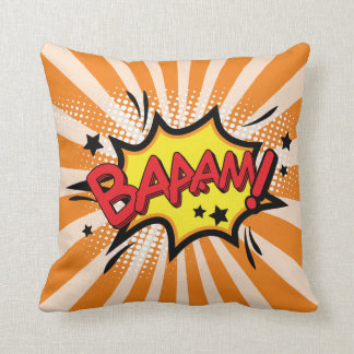 Superhero Comic Book Bam Cartoon Throw Pillow