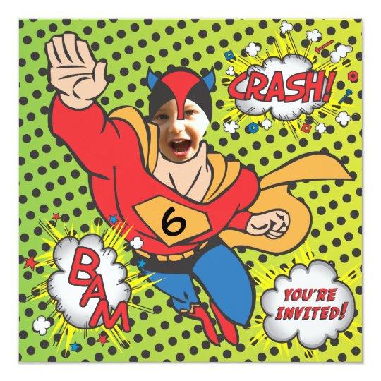 Superhero comic book birthday party photo card