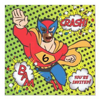 Superhero comic book birthday party photo card custom invite