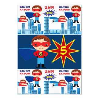 Superhero Comic Book Kids Birthday Invitations