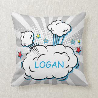 Superhero Comic Book Monogrammed Name Cartoon Throw Pillow