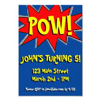 "Superhero Comic Book Themed Invitation Template 3.5"" X 5"" Invitation Card"