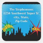 Superhero Comic Boy's Birthday Party Address Label Square Sticker