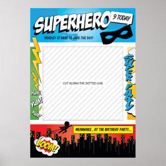 Superhero Comic Kids Birthday Party Photo Prop Poster