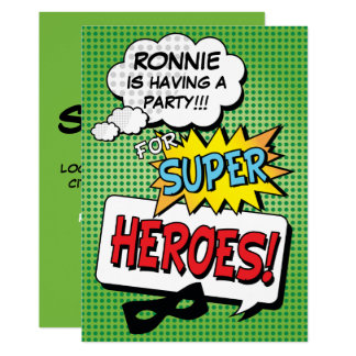 Superhero Comic Strip Kids Birthday Party Card