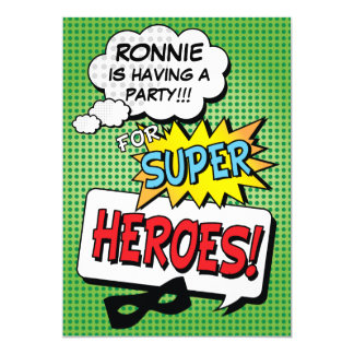 Superhero Comic Strip Kids Birthday Party Card