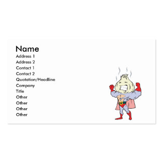 superhero garlic character business card