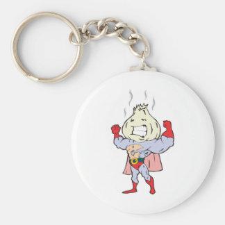 superhero garlic character basic round button keychain