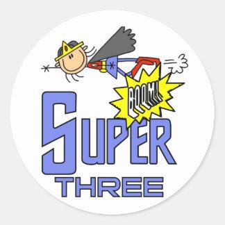 Superhero Girl 3rd Birthday Tshirts and Gifts Classic Round Sticker