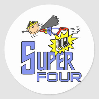 Superhero Girl 4th Birthday Tshirts and Gifts Classic Round Sticker