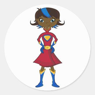 Superhero Girl Classic Round Sticker