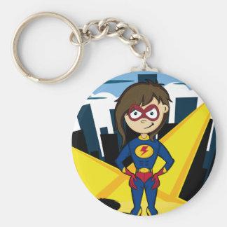 Superhero Girl in City Keychain