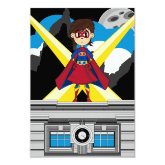 Superhero Girl on Rooftop Card