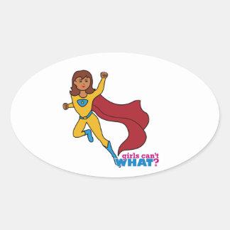 Superhero Girl Oval Sticker