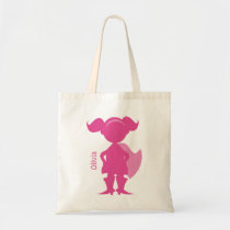 Superhero Girl Silhouette Personalized Pink Tote Bag