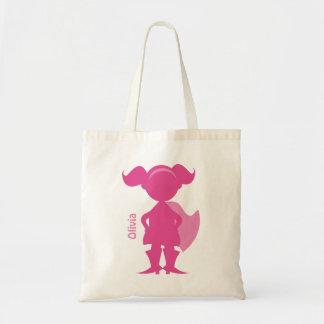 Superhero Girl Silhouette Personalized Pink Tote Bag