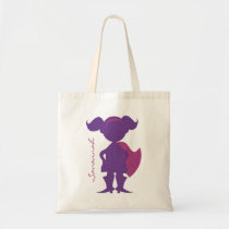 Superhero Girl Silhouette Personalized Purple Tote Bag