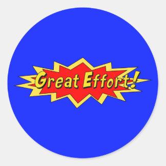 Superhero Great Effort Teacher Reward Classic Round Sticker
