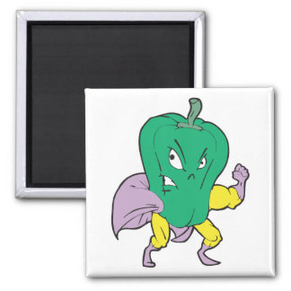 superhero green pepper cartoon character 2 inch square magnet