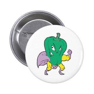 superhero green pepper cartoon character button