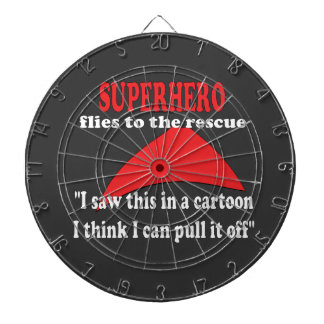 Superhero humor funny dartboard with darts