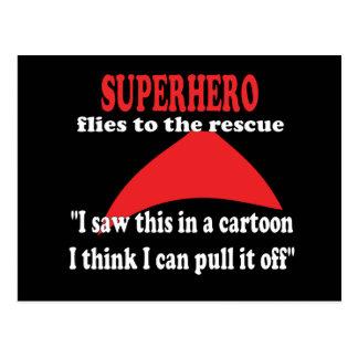 Superhero humor funny postcard