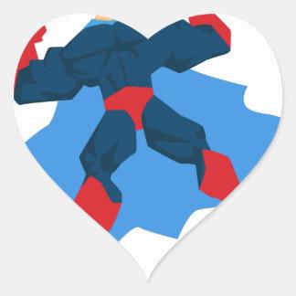 Superhero in Action Heart Sticker
