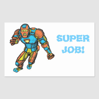 SUPERHERO IN ROBOT ARMOR RECTANGULAR STICKERS