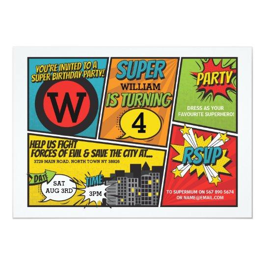 Superhero Invitation Super Hero Party Invite Zazzle Com