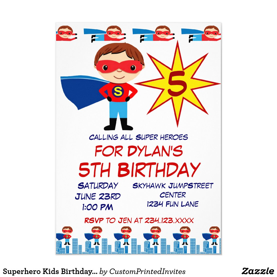 Superhero Kids Birthday Party Invitations for Boys