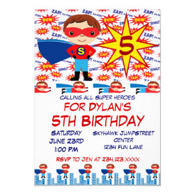 Superhero Kids Birthday Party Invitations for Boys 5