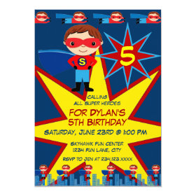 Superhero Kids Boys Birthday Party Invitation Blue 5
