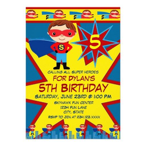 Personalized superhero invitations custominvitations4u superhero kids boys birthday party invitation blue pronofoot35fo Choice Image