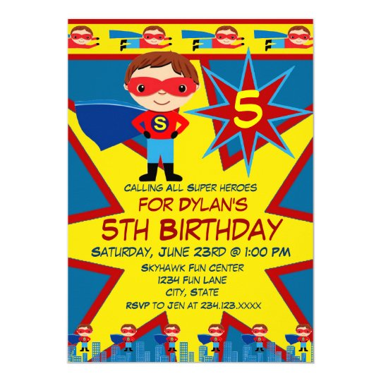 superhero kids boys birthday party invitation blue - Superhero Birthday Party Invitations