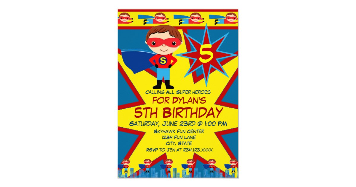 Superhero Kids Boys Birthday Party Invitation Blue | Zazzle.com