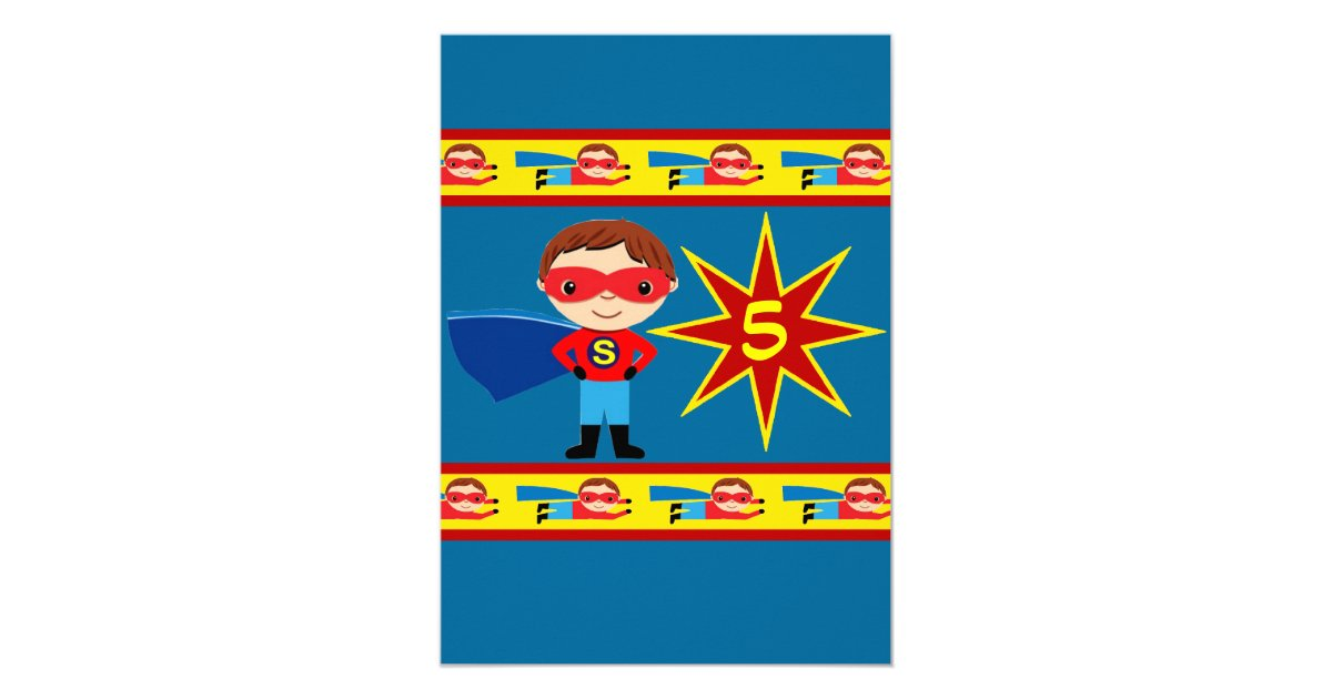 Superhero Kids Boys Birthday Party Invitation Blue – Boys Birthday Party Invitations