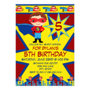 Superhero Kids Boys Birthday Party Invitation Red
