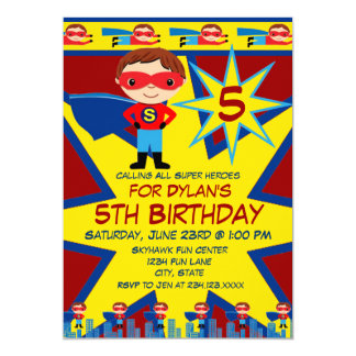 Superhero Kids Boys Birthday Party Invitation Red