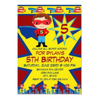 "Superhero Kids Boys Birthday Party Invitation Red 5"" X 7"" Invitation Card"