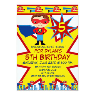 Superhero Kids Boys Birthday Party Invitations