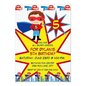 Superhero Kids Boys Birthday Party Invitations 5