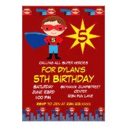 Superhero Kids Boys Birthday Party Invitations Red