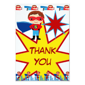 Superhero Kids Boys Birthday Party Thank You Cards 3.5
