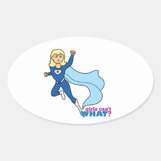 Superhero - Light/Blonde Oval Sticker