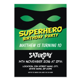 Superhero Mask Green Custom Kids Birthday Card