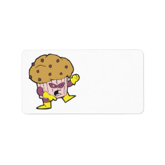 superhero muffin man character custom address labels