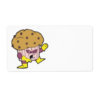 superhero muffin man character shipping label
