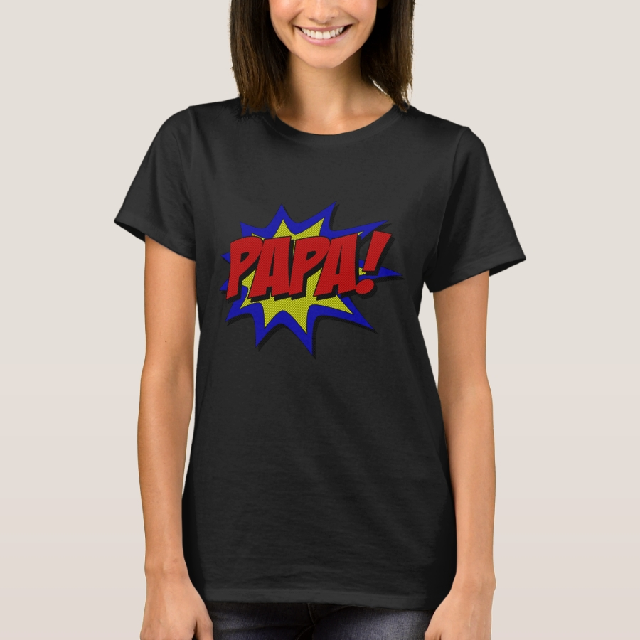 Superhero Papa T-Shirt - Casual Long-Sleeve Street Fashion Shirts