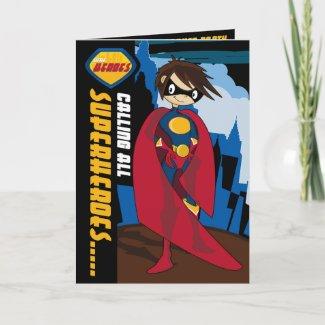 Superhero Party Invitation card