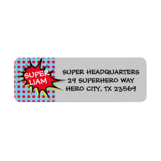 Superhero Party Invitation Return Address Labels